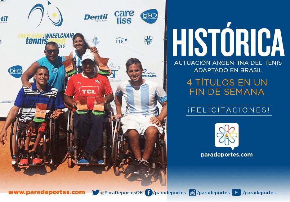 Tenis adaptado: hazaña argentina con 4 títulos en Brasil
