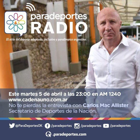 Entrevista a Carlos Mac Allister, este martes a las 23, en Paradeportes Radio (AM 1240)