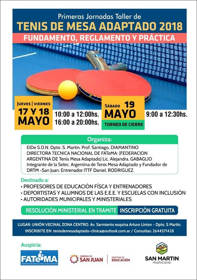 Tenis de mesa adaptado: clínica en San Juan