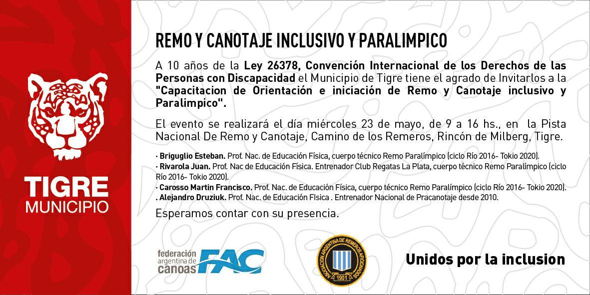 Capacitación en remo paralímpico y paracanotaje en Tigre