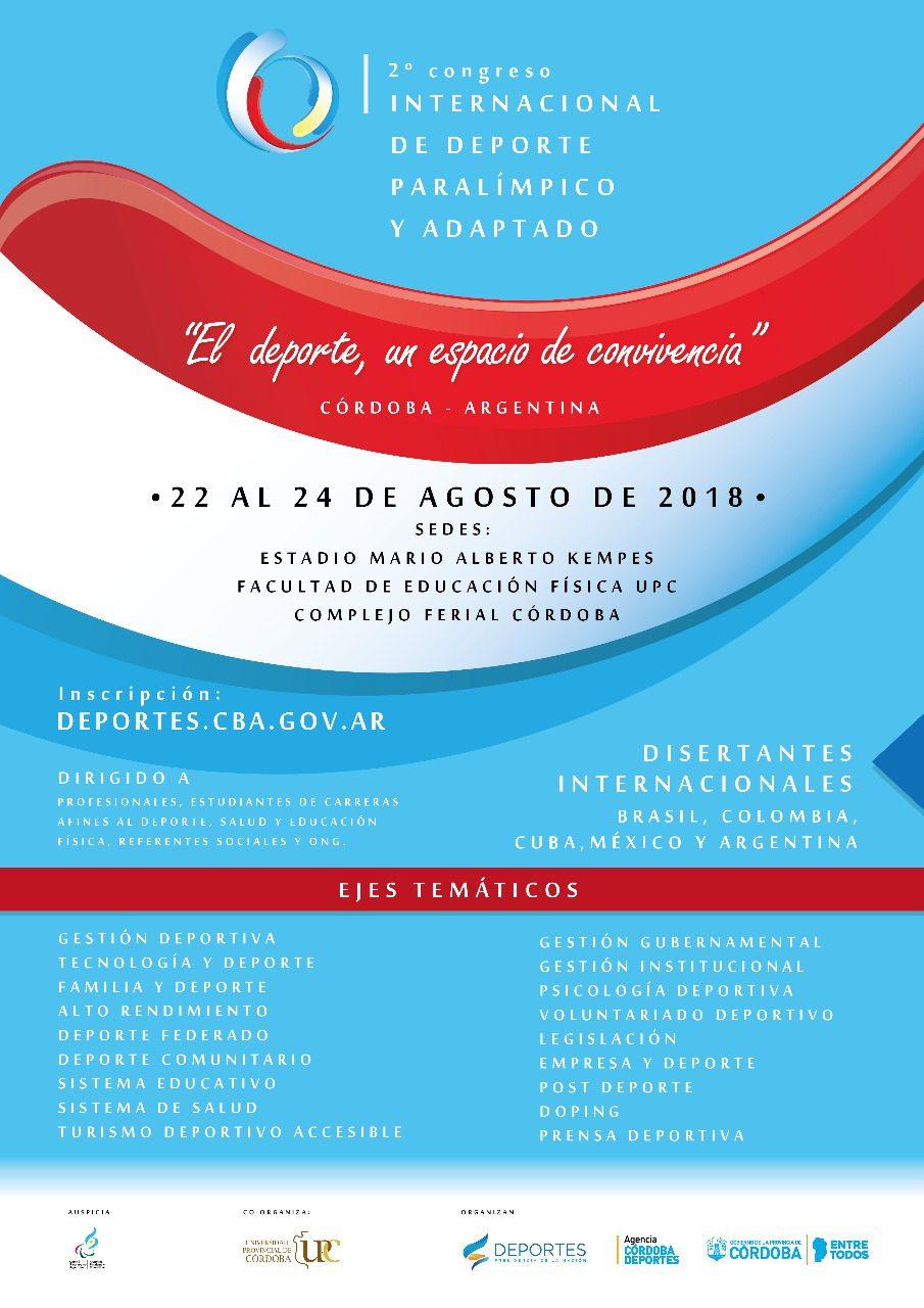 Córdoba será la sede del Congreso Internacional de deporte adaptado y paralímpico