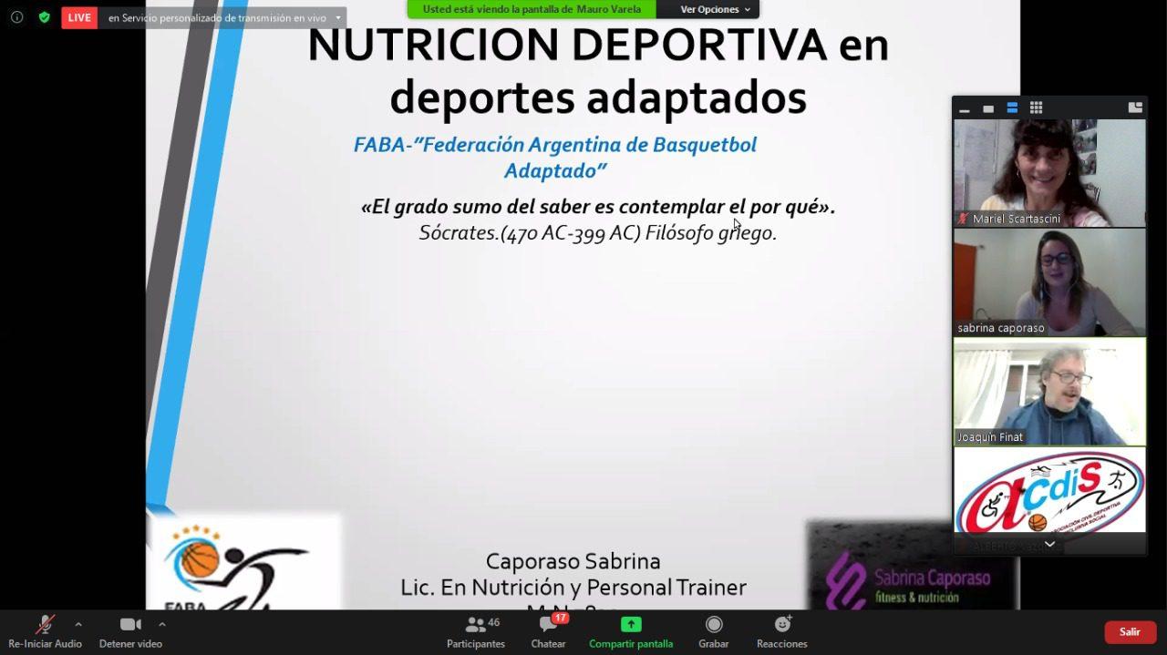 Ciclos y conferencias: la nutrición deportiva aplicada al básquet sobre silla de ruedas