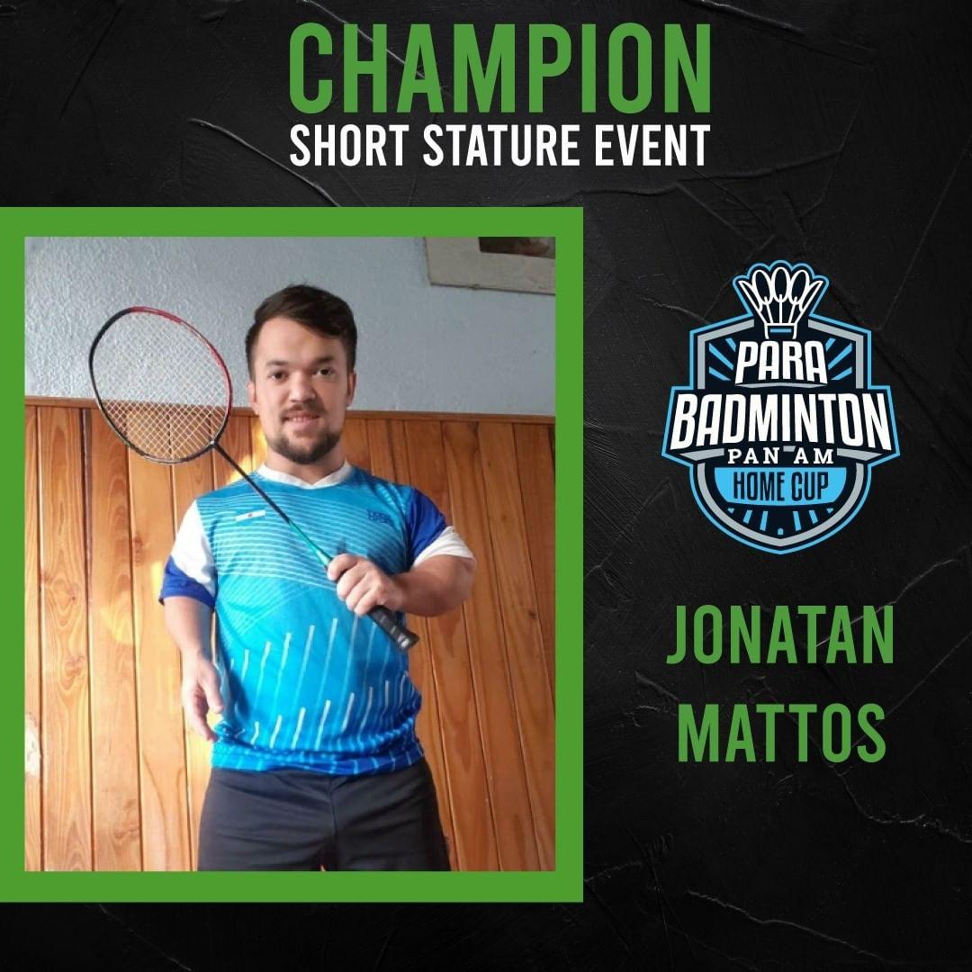 """Parabádminton: Jonatan Mattos, campeón de la """"Panamerican Home Cup"""""""