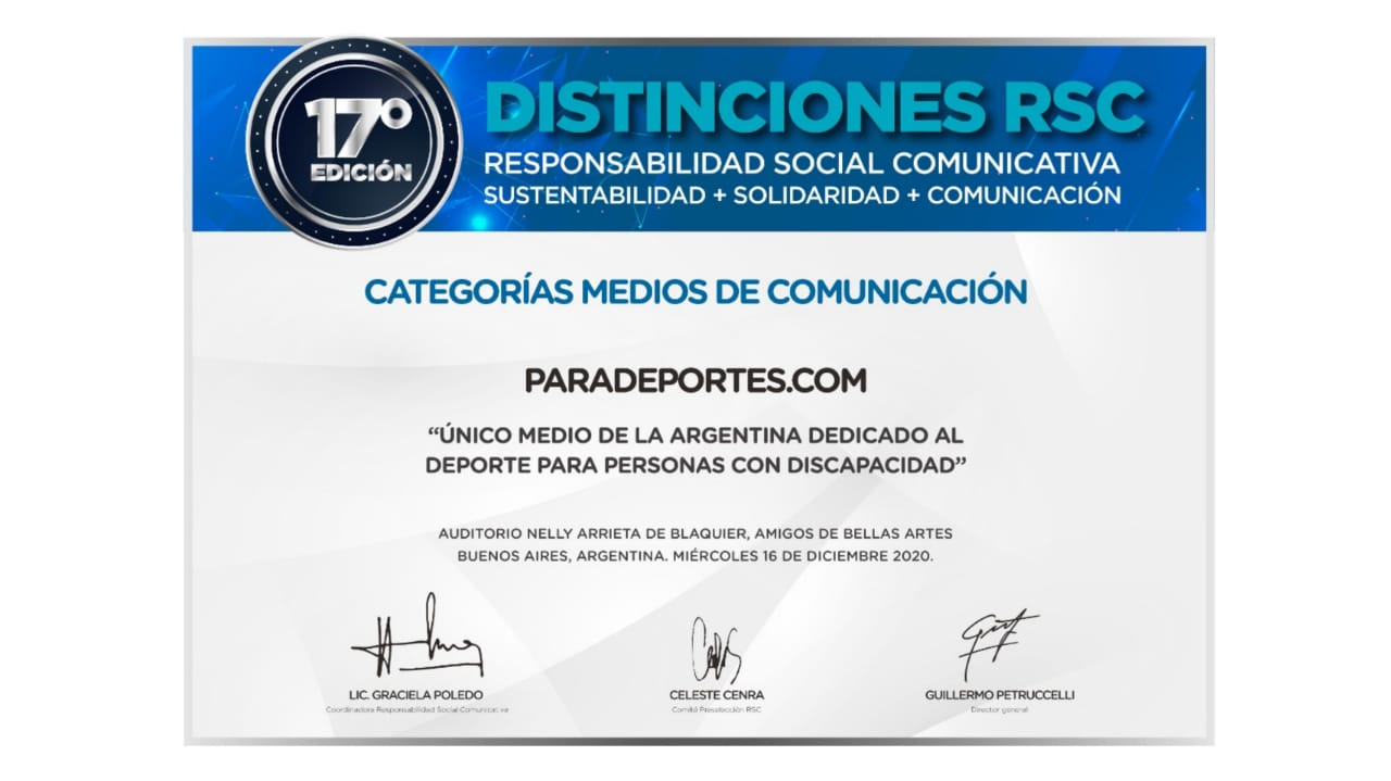 """Paradeportes.com ganó el premio """"Distinciones RSC"""" 2020 en la categoría """"Medios de comunicación"""""""