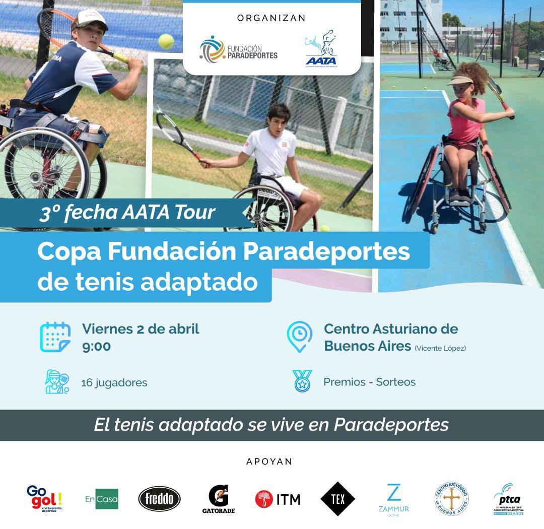 """AATA Tour: Se viene la 1º edición de la """"Copa Fundación Paradeportes"""" de tenis adaptado 2021 en Vicente López"""