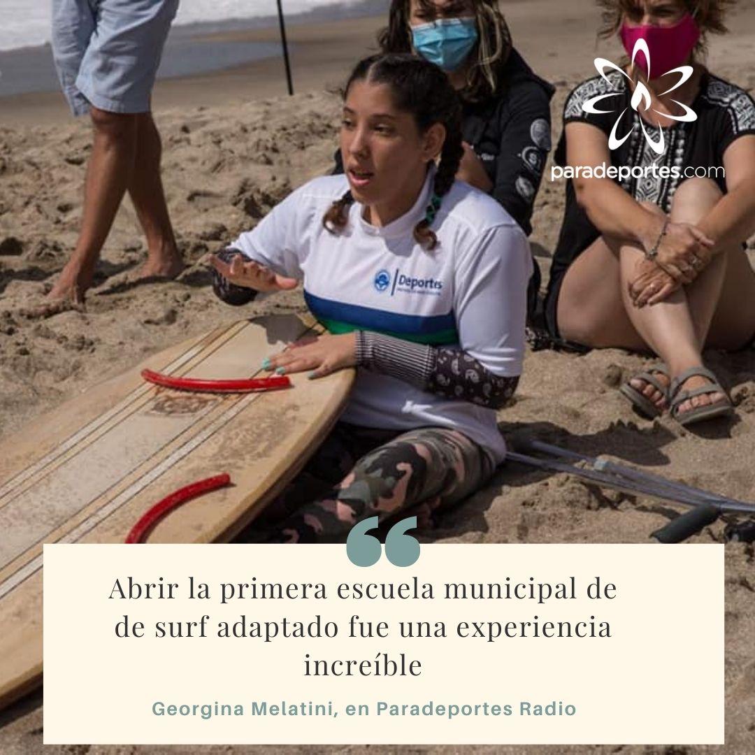 """Georgina Melatini en Paradeportes Radio: """"Abrir la primera escuela municipal de surf adaptado fue una experiencia increíble"""""""