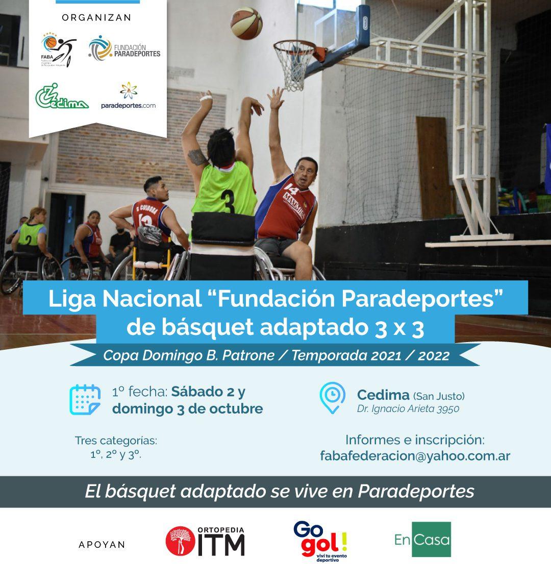 """Vuelve el básquet adaptado 3 x 3: comienza la Liga Nacional """"Fundación Paradeportes"""""""