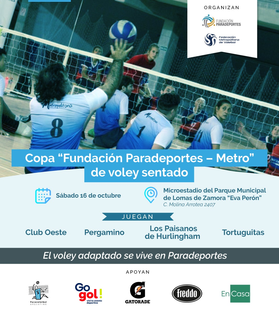"""Se viene la 1ra. """"Copa Fundación Paradeportes – Metro"""" de voley sentado"""